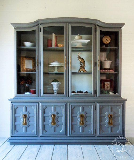 SOLD Stanley Two Piece China Cabinet Dining Room Painted Furniture Hutch