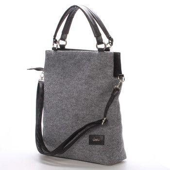 1cae036ba4  novinka  carine Středně velká elegantní dámská šedá filcová kabelka Carine  se stříbrnými detaily je