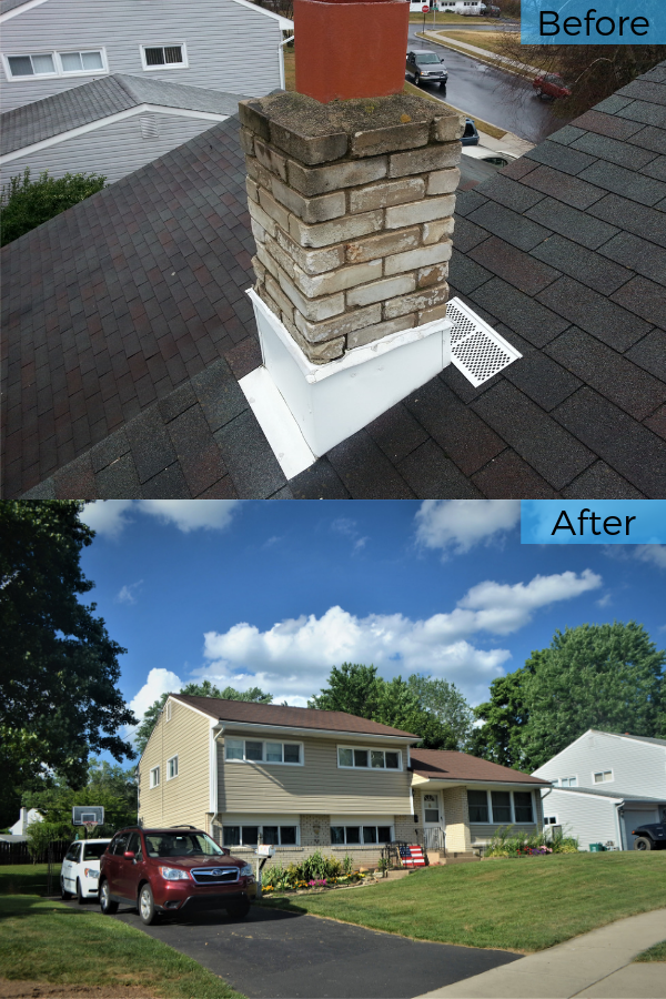Before And After Replacing 20 Year Old Asphalt Roof With Stone Coated Metal Shingles In Morrisville Pa Metal Shingle Roof Installing Roof Shingles Metal Shingles
