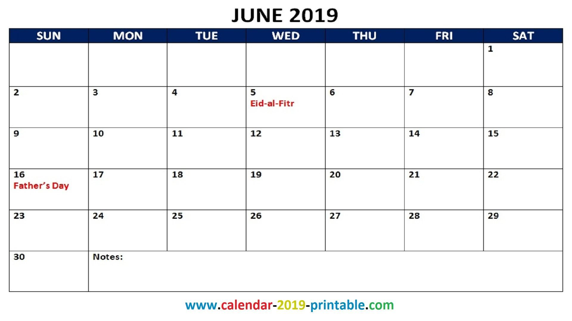 2019 Monthly Calendar With Holidays Calendar June June 2019