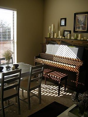Use Piano Bench As Extra Seating At Table Perhaps I Should Move Our Upright Piano To The