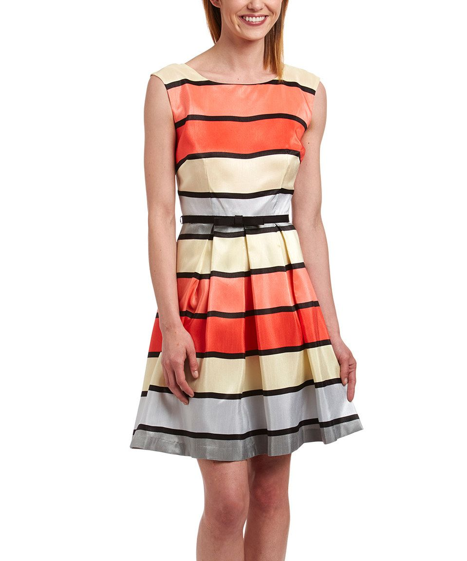 6b4373362c69 Another great find on #zulily! Danny & Nicole Red & Orange Stripe Pleated  Sleeveless Dress by Danny & Nicole #zulilyfinds