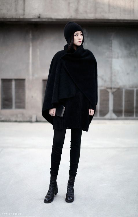 1fd8cd6b502 All black winter look. Sleek   chic.