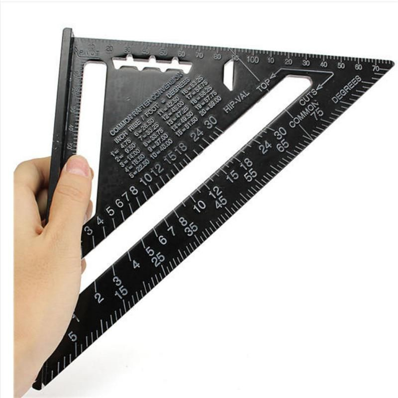 7inch 12inch Metric System Triangular Measuring Ruler Aluminum Alloy Speed Square Roofing Woodworking Measuring Tools Tp 011 Triangle Ruler Rafter Square Ruler