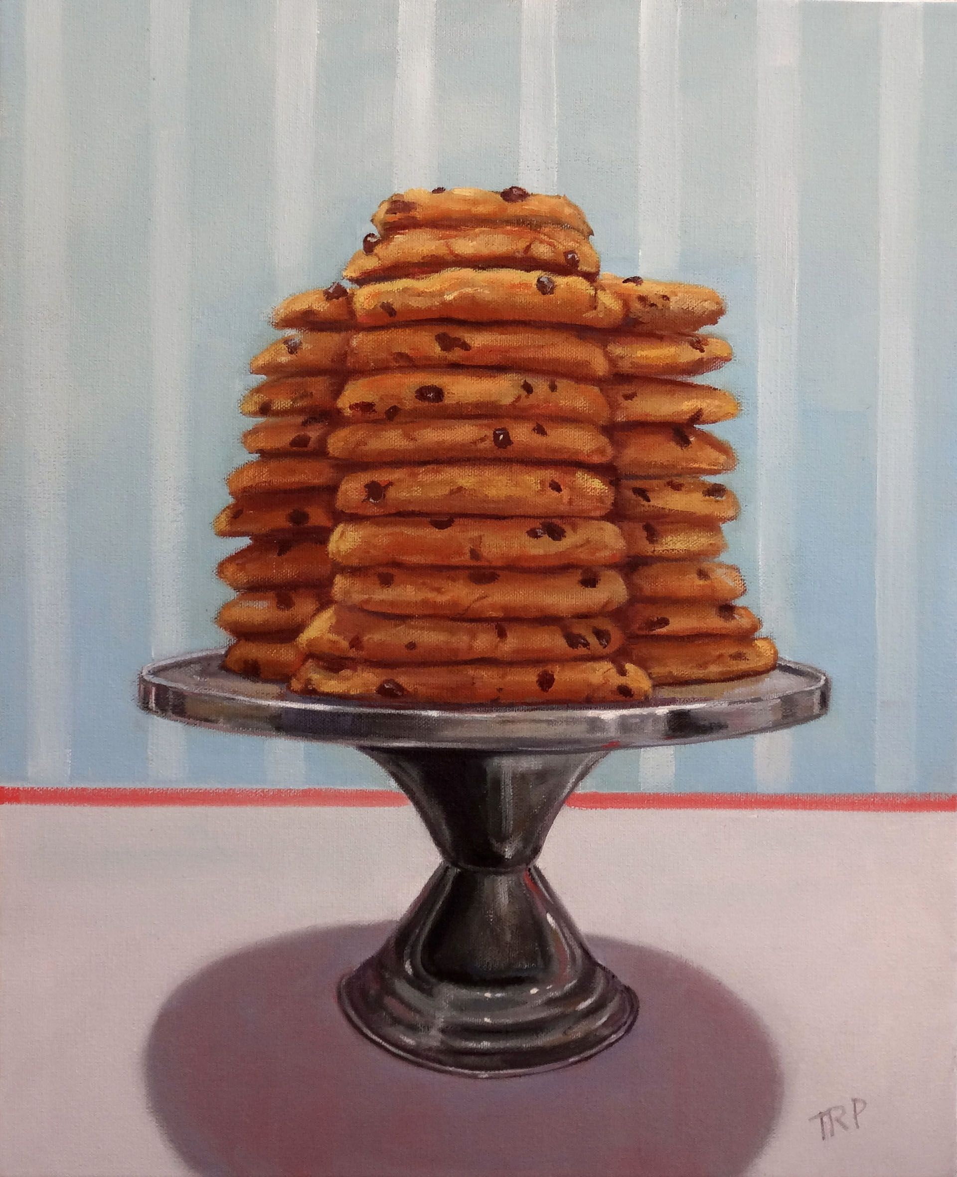 """Take One"" 20""x16"" - Oil Painting- Original painting of a stack of chcolate chip cookies on a silver cake stand by Terry Romero Paul"