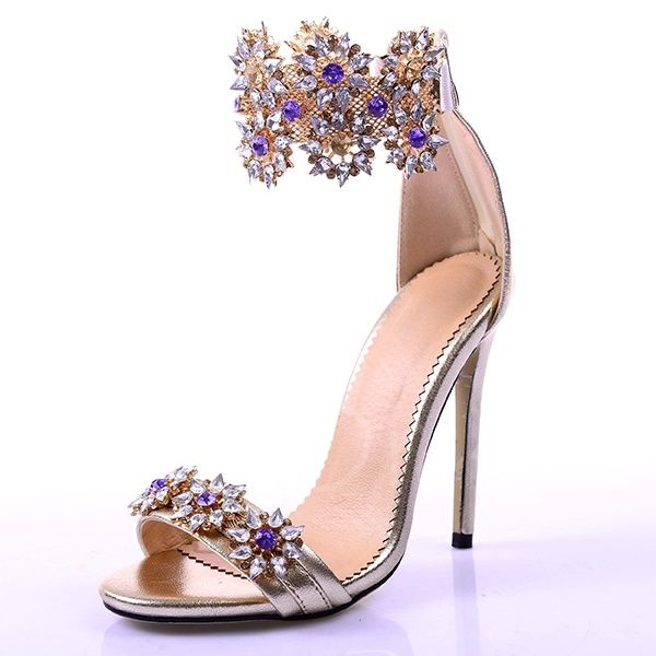 2968ab07e8532a Fancy Rhinestone Stiletto Heel Sandals Women's Wedding Shoes ...