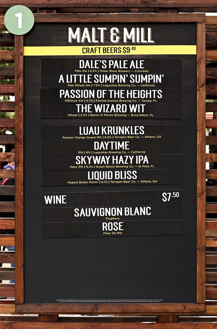 The Malt and Mill menu and price board for Bier Fest 2019