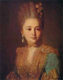 1760 Rokotov. Portrait of a lady in blue