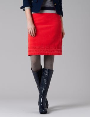 coral mini-skirt (would probably be regular length on me)