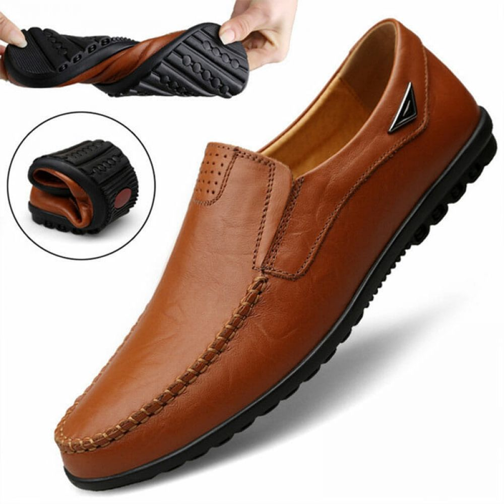 2019 Men Leather Casual Shoes Breathable Loafers Driving Moccasins HandStitching