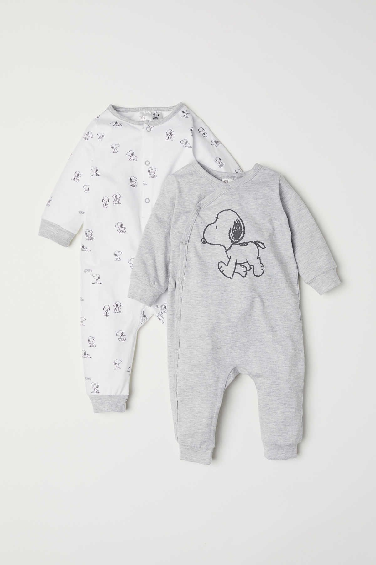 Light grey marl/Snoopy. All-in-one pyjamas in soft cotton jersey