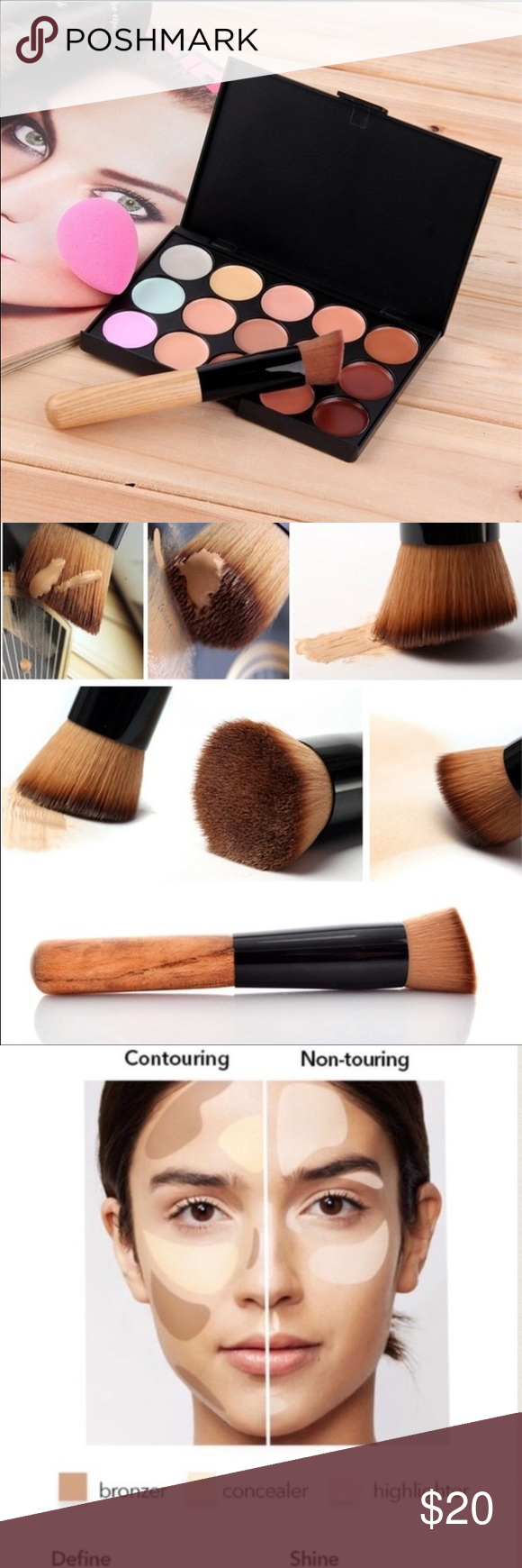 CONCEALER/CONTOURING 15 colors + Brush + Sponge Ocular