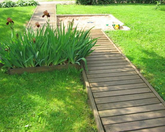 wood plank walking path  i u0026 39 d like something like this in my garden but curved  rather than just