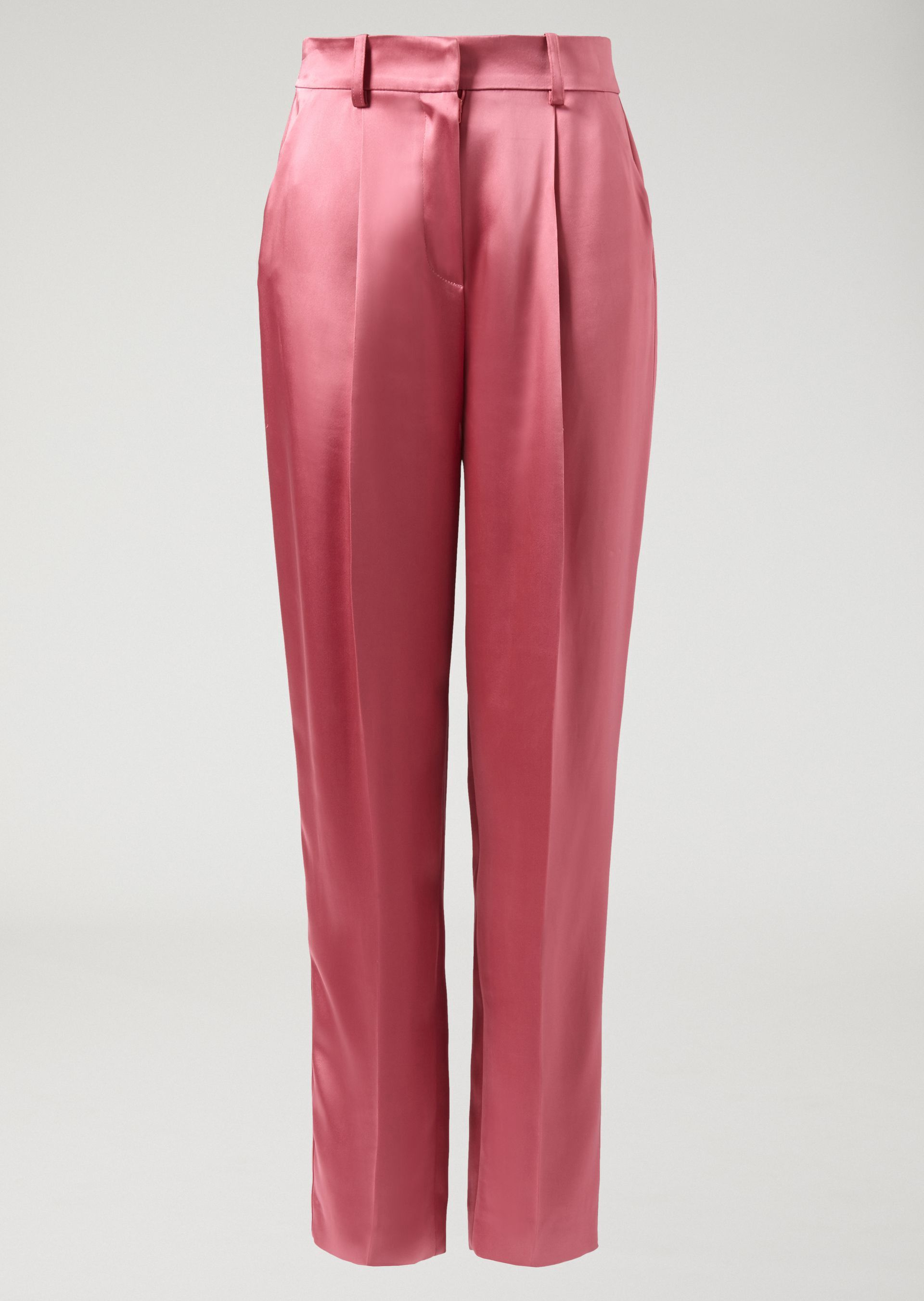 dc7cd246b5 Emporio Armani Double-Faced Smooth Satin Trousers With Darts - Red 6 ...