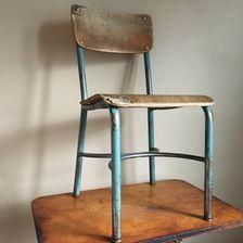 Vintage Industrial Wood and Metal School Chair