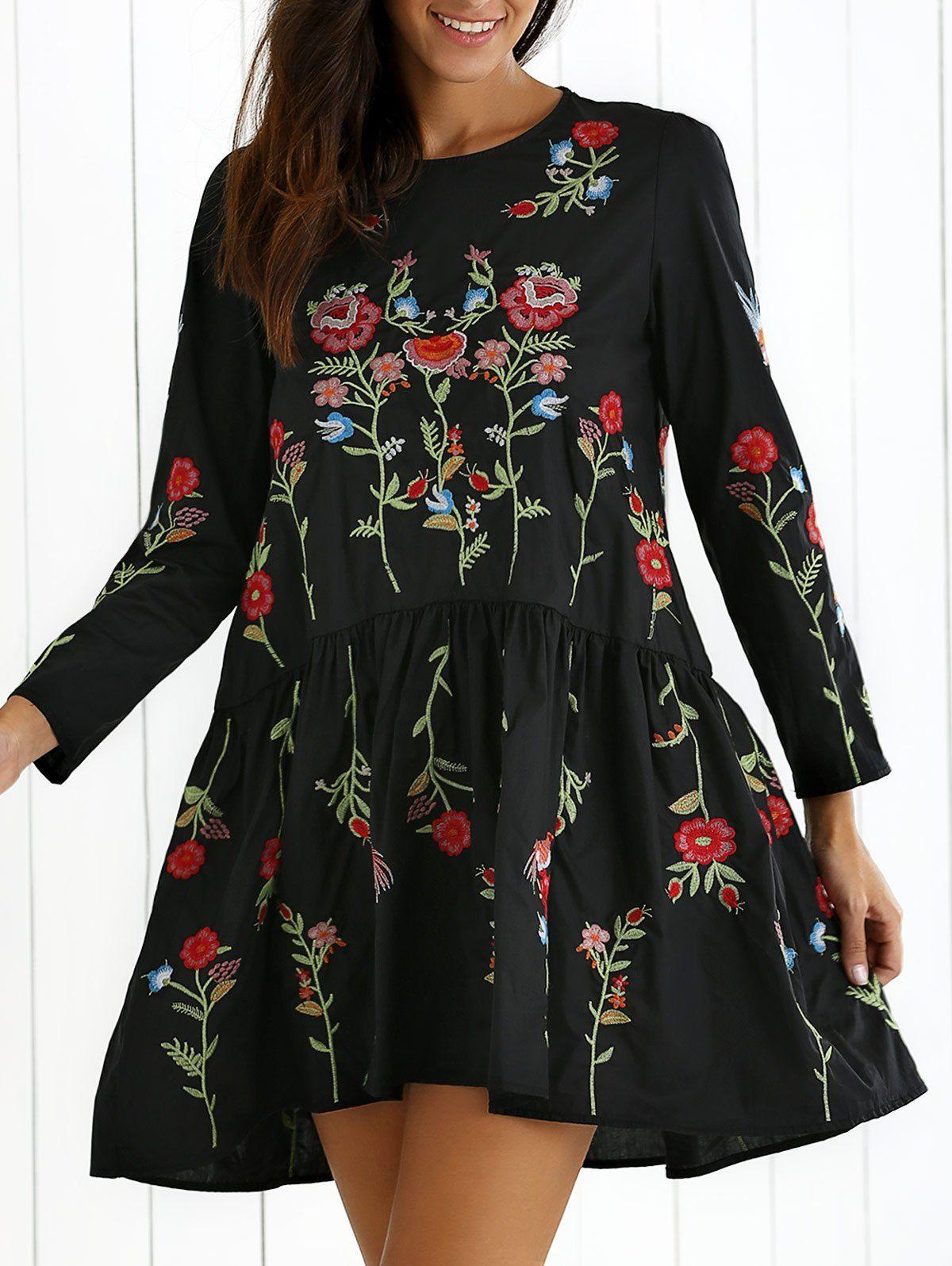 Drop waist flower embroidered dress drop waist dresses sleeved