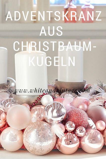 xmas diy ein adventskranz aus christbaumkugeln white. Black Bedroom Furniture Sets. Home Design Ideas