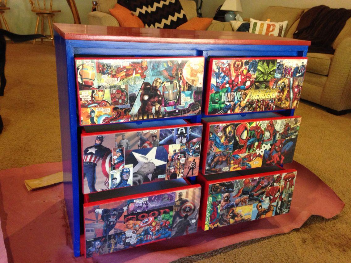 Decoupage avengers them dresser using old comic books