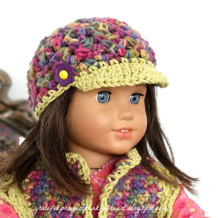 "With a Grateful Prayer and a Thankful Heart: Crochet hat and vest for 18"" dolls"