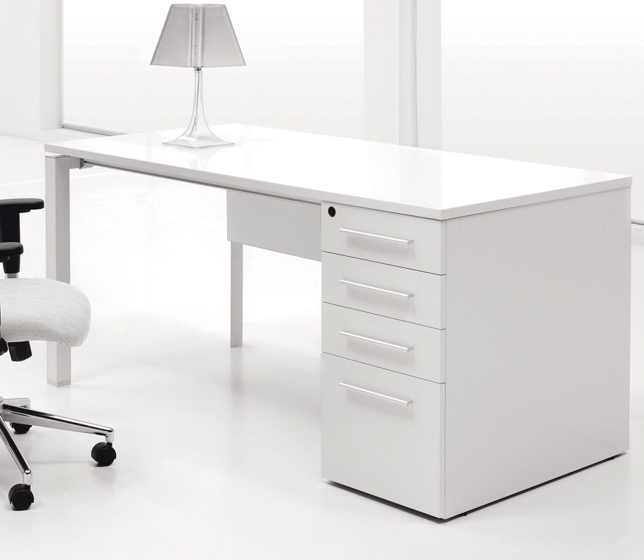 The Ergo Office Pure Office Desk W 4 Drawers White Home Office Furniture Office Interior Design Home Office Design