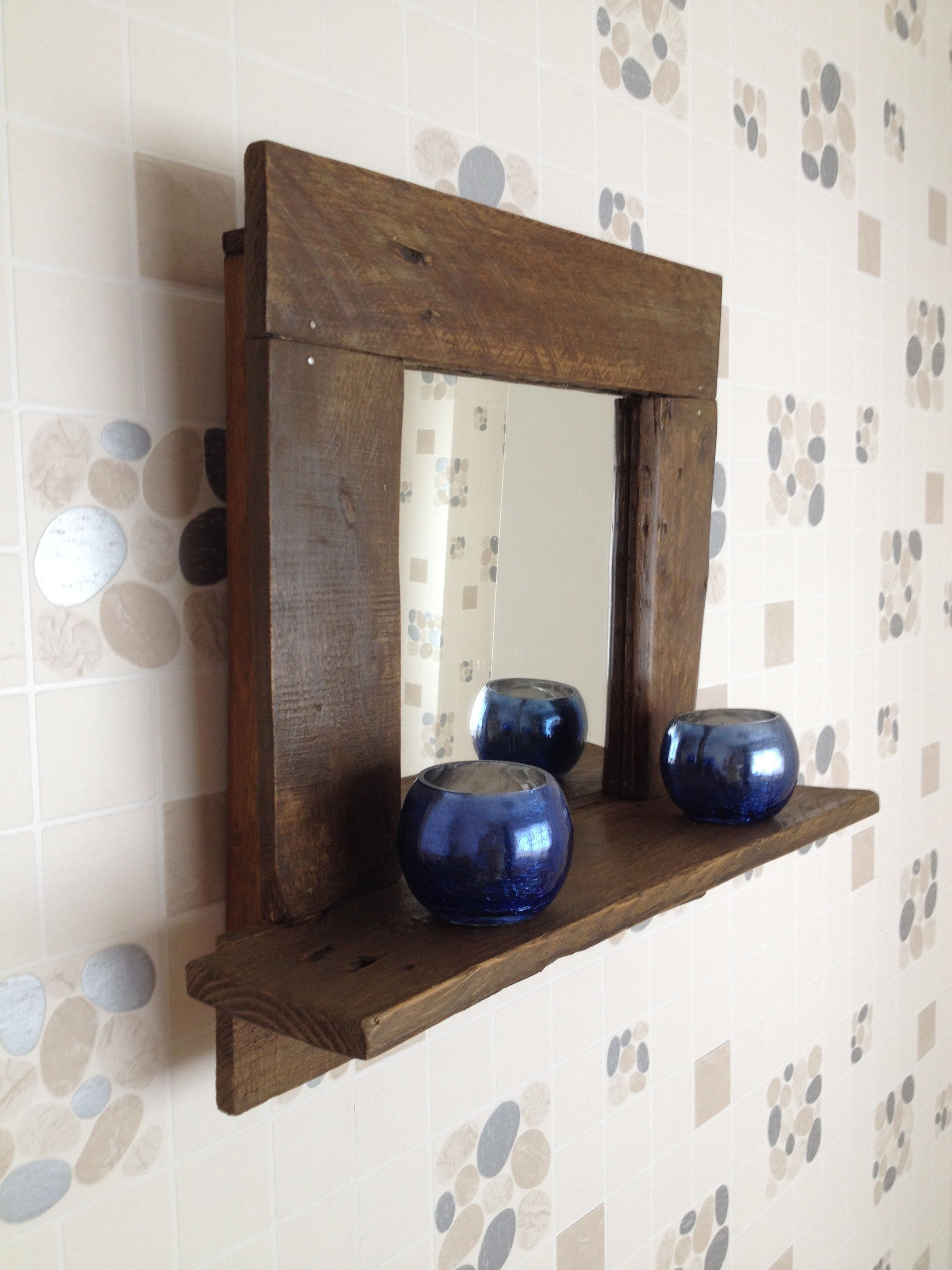 Hand Made Rustic Bathroom Mirror With Shelf Finished In