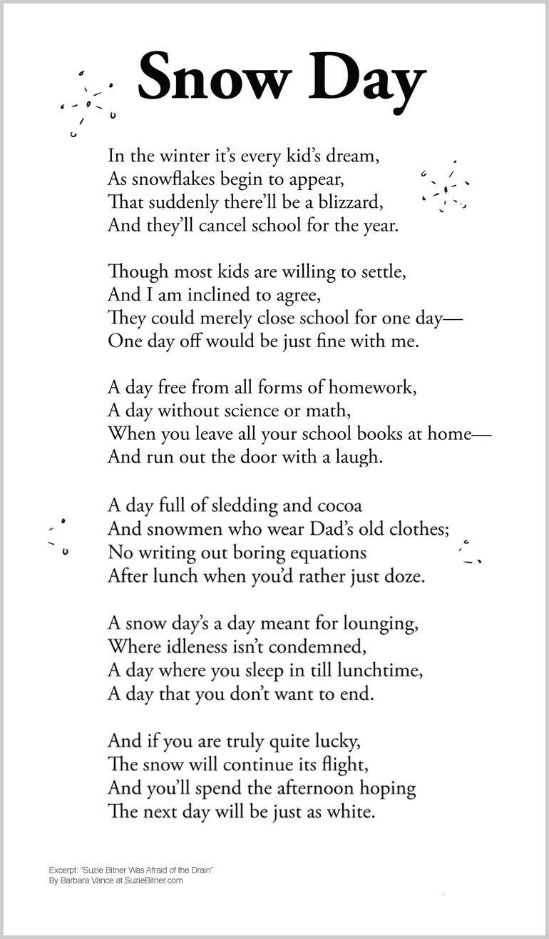 cute children 39 s poem about snow games during a snow day off from school great for winter and. Black Bedroom Furniture Sets. Home Design Ideas