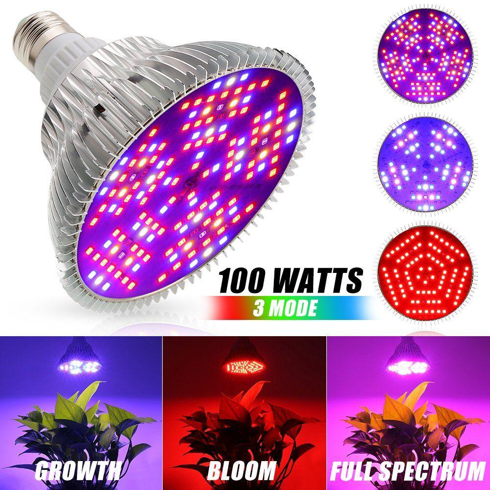 100w Upgrade Led Grow Light Bulb Bloom Growth Full Spectrum 3 Mode Plant Light Bulb 150leds Indoor Plant Grow Led Grow Lights Led Grow Light Bulbs Grow Lights