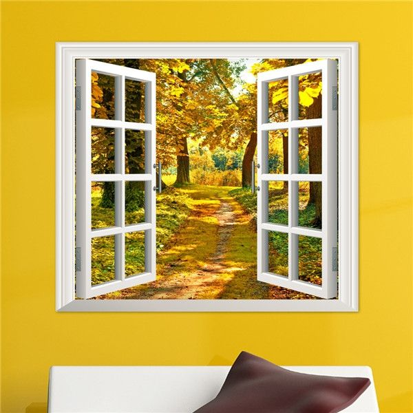 3D Window View Yellow Wood 3D Wall Decals Autumn View Stickers Home ...