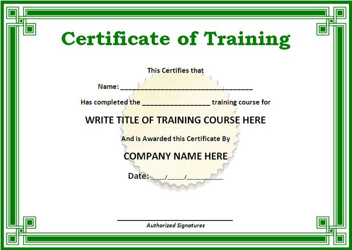Green Certificate Template Of Training  Templates