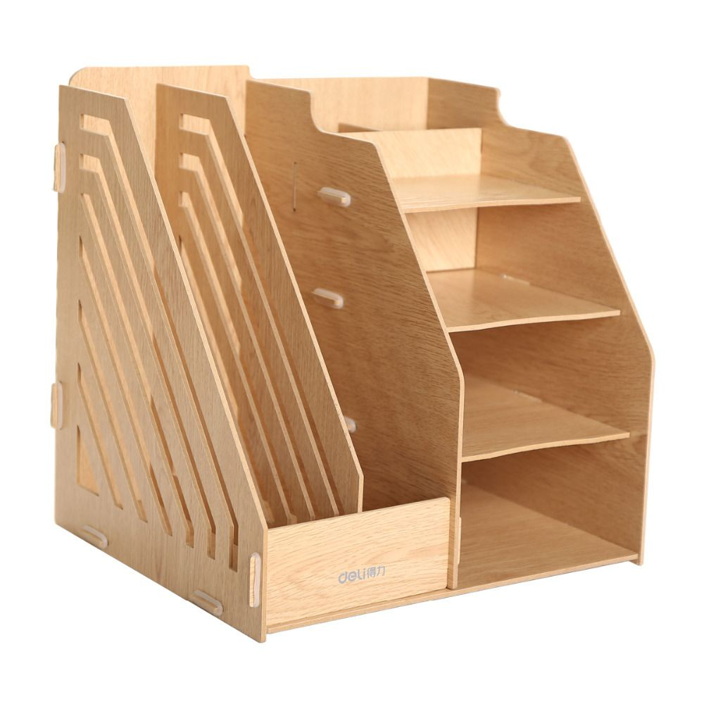 Detachable Desktop Storage Box Wooden Board DIY Organizer Shelf Office  Supplies Storage Boxes Paper Files Slot / Magazine Holder And 4  Compartments Bins  ...