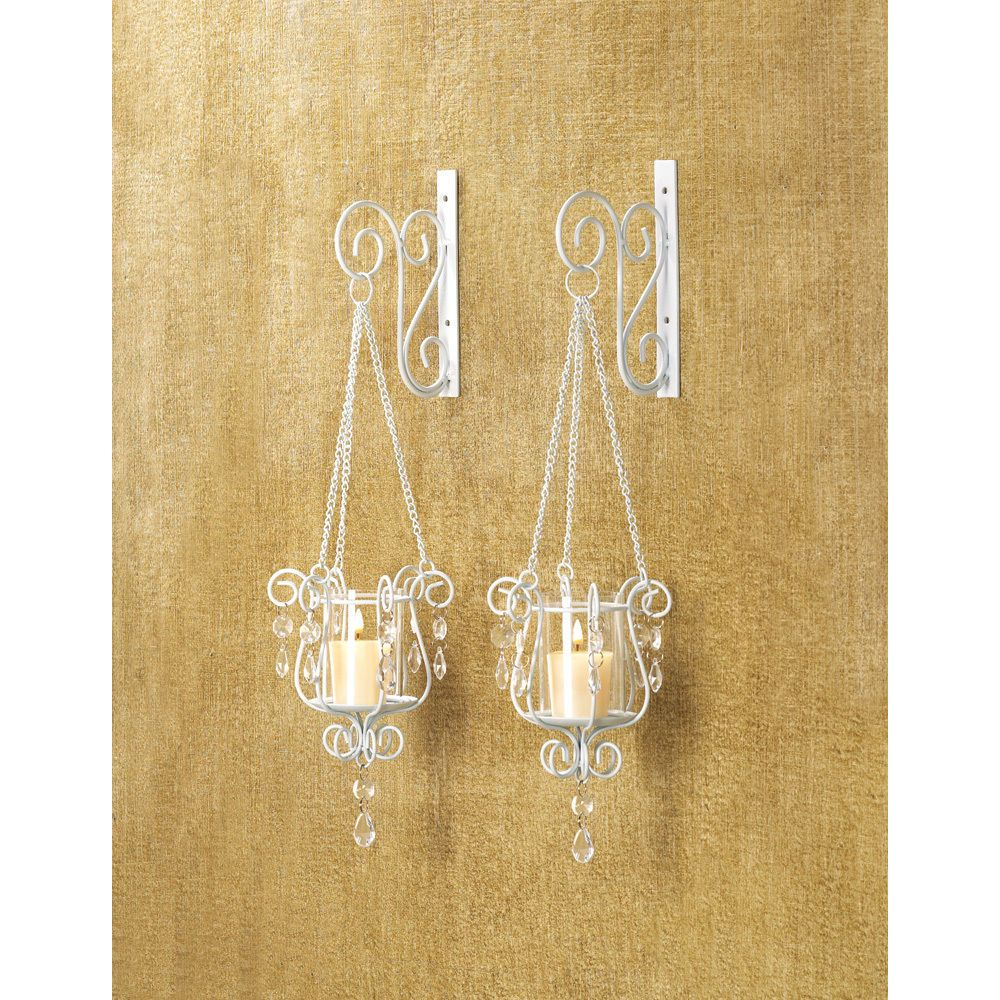 2 White Chic Shabby Hurricane crystal hanging Candle Holder Wall ...