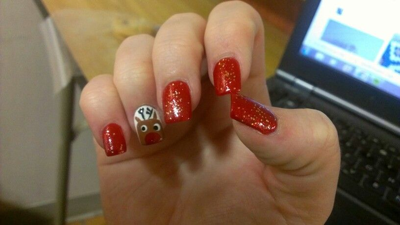 Rudolph nails for the holidays!