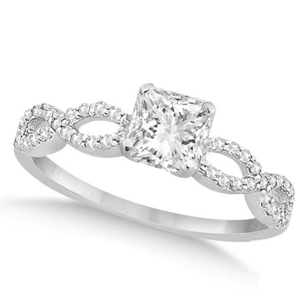 Diamoire Jewels White Round Cut Swarovski Zirconia Ring Set in 10Kt White Gold - UK U - US 10 1/4 - EU 62 3/4 CKQ2AB