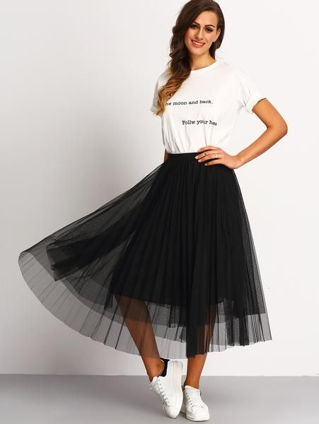 fast delivery release date sleek Black Mesh Pleated Skirt | Black pleated skirt