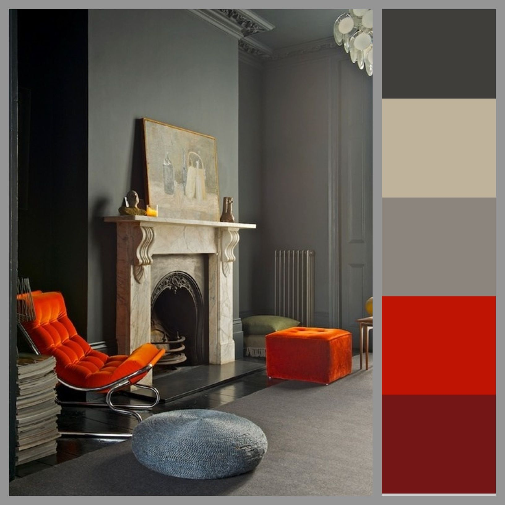 Color scheme Interior Orange Gray Grey Elegant European