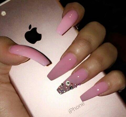Pink acrylic coffin nails.....Like what you see? follow me @jassyjazz