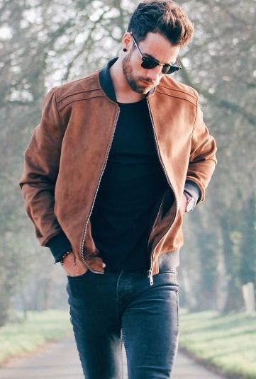 brown leather bomber jacket | Mens outfits, Brown leather