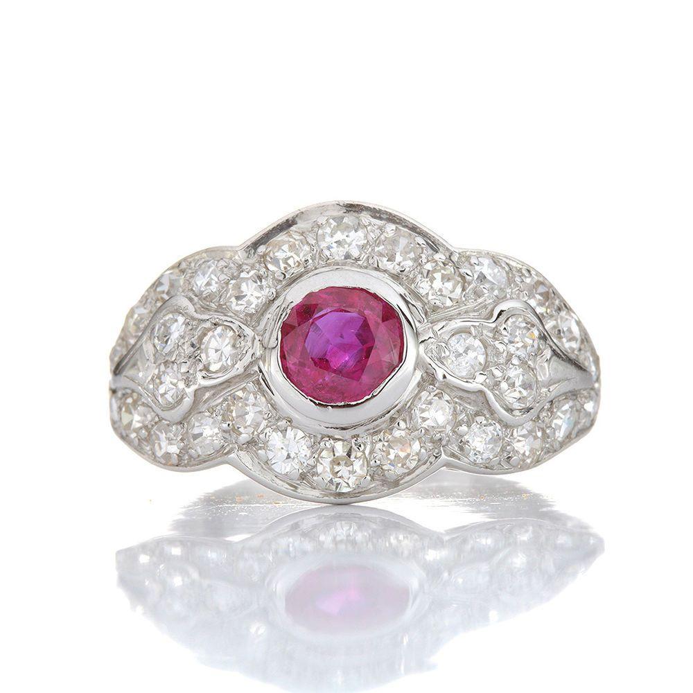 Engagement ring natural ruby diamonds antique platinum vintage