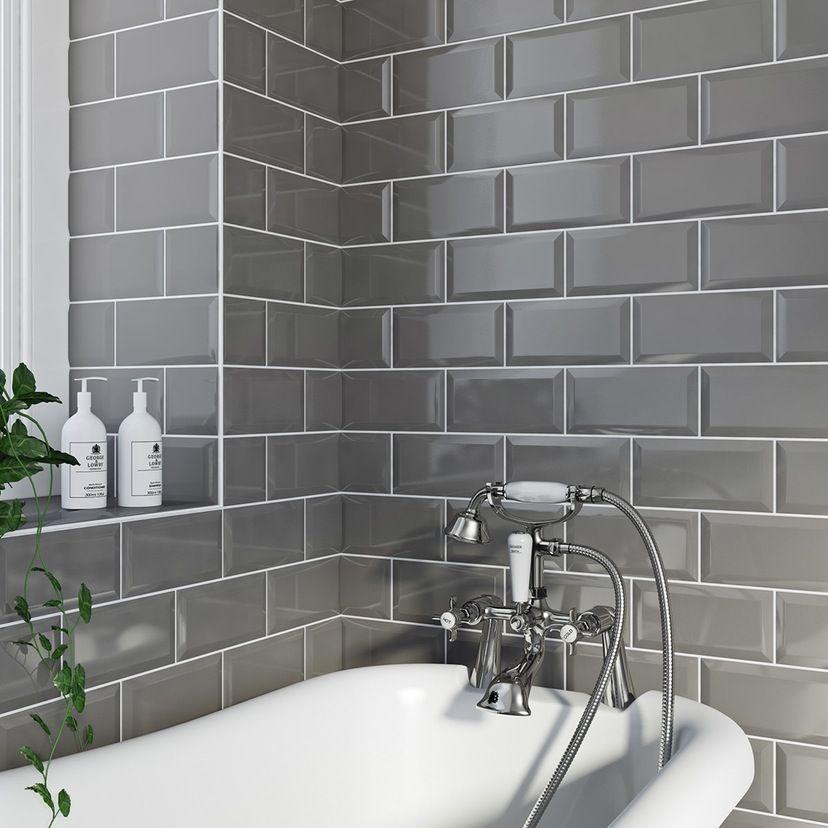 British Ceramic Tile Metro Bevel Grey Gloss Tile 100mm X 200mm Grey Bathroom Tiles Brick Tiles Bathroom White Bathroom Tiles
