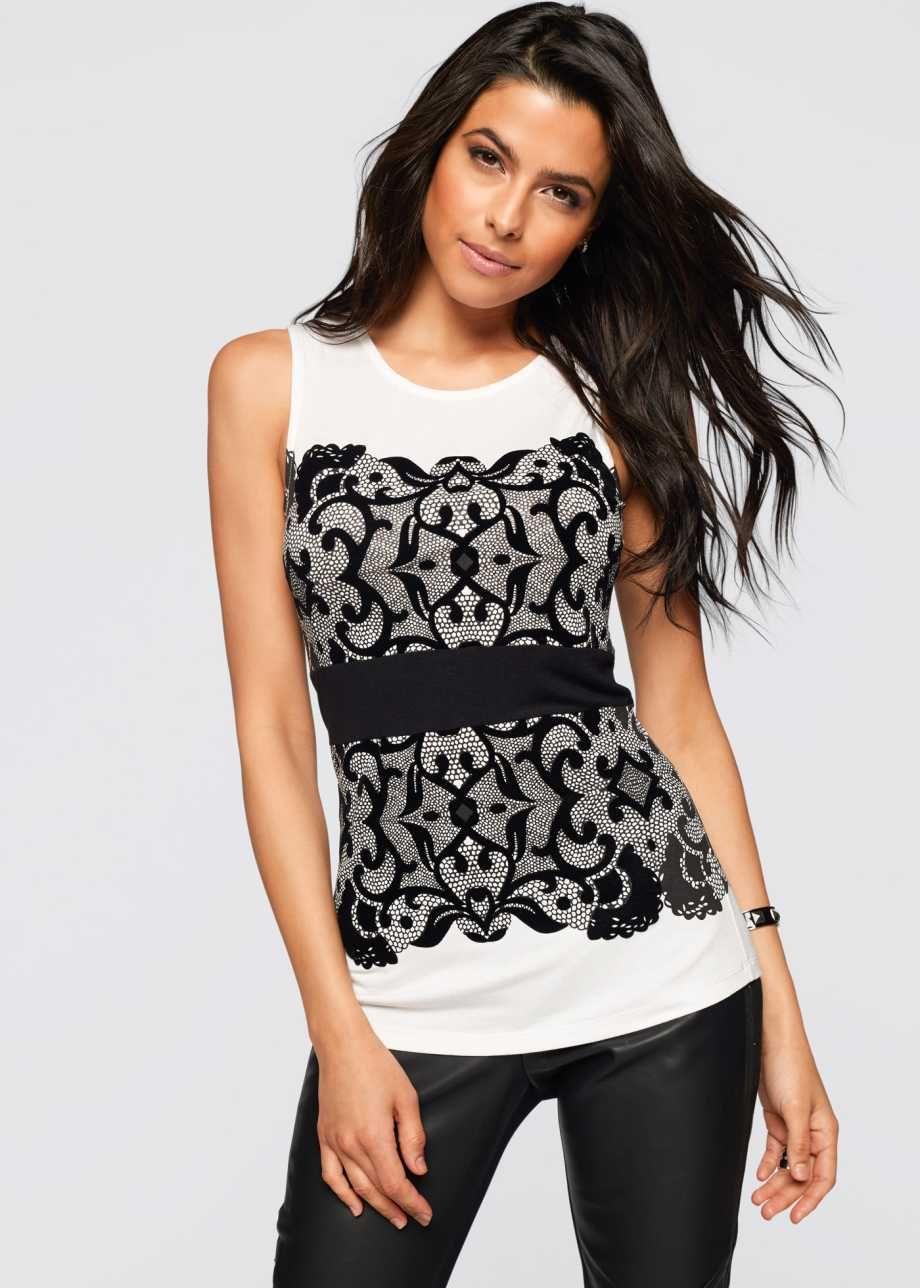 Spitzenshirt, BODYFLIRT boutique, weiß/schwarz