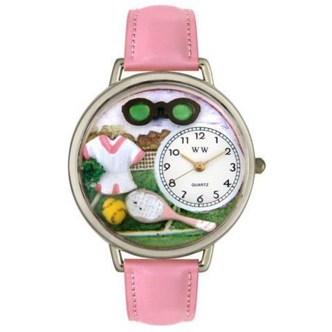 Whimsical Unisex Tennis Female Pink Leather Watch