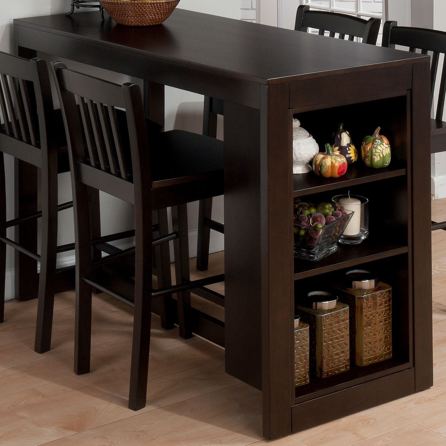 Jofran 810ec 48 Tribeca Counter Height Table 3 Storage Shelves Merlot In 2020 Dining Room Small Small Kitchen Tables Space Saving Dining Table