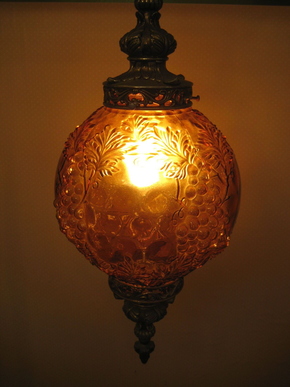 Vintage Grape Amber Glass Hanging Swag Chandelier Light Cool