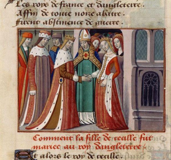 Mariage de Henri VI d'Angleterre et de Marguerite d'Anjou Martial d'Auvergne, Vigiles de Charles VII France, Paris, XVe siècle BNF, Département des Manuscrits, Français 5054, Fol. 126v