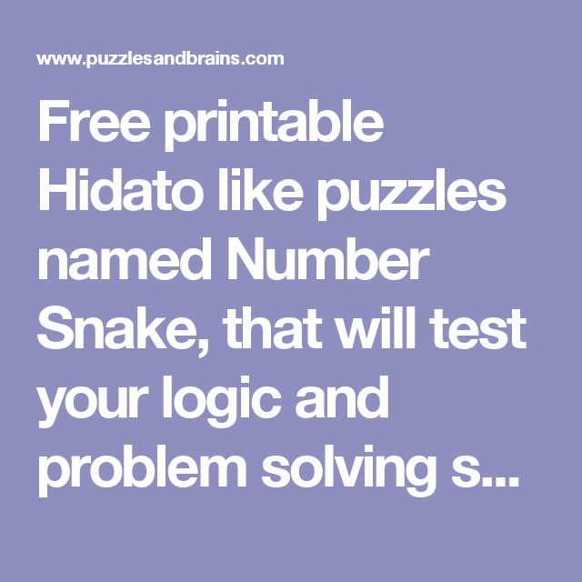 graphic about Hidato Printable known as Cost-free printable Hidato which include puzzles known as Quantity Snake, that