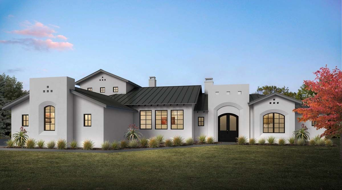 Plan 430029ly Contemporary Mission Inspired 3 Bed House Plan With Private Master Wing Mission Style Homes Ranch House Plans Spanish Style Homes