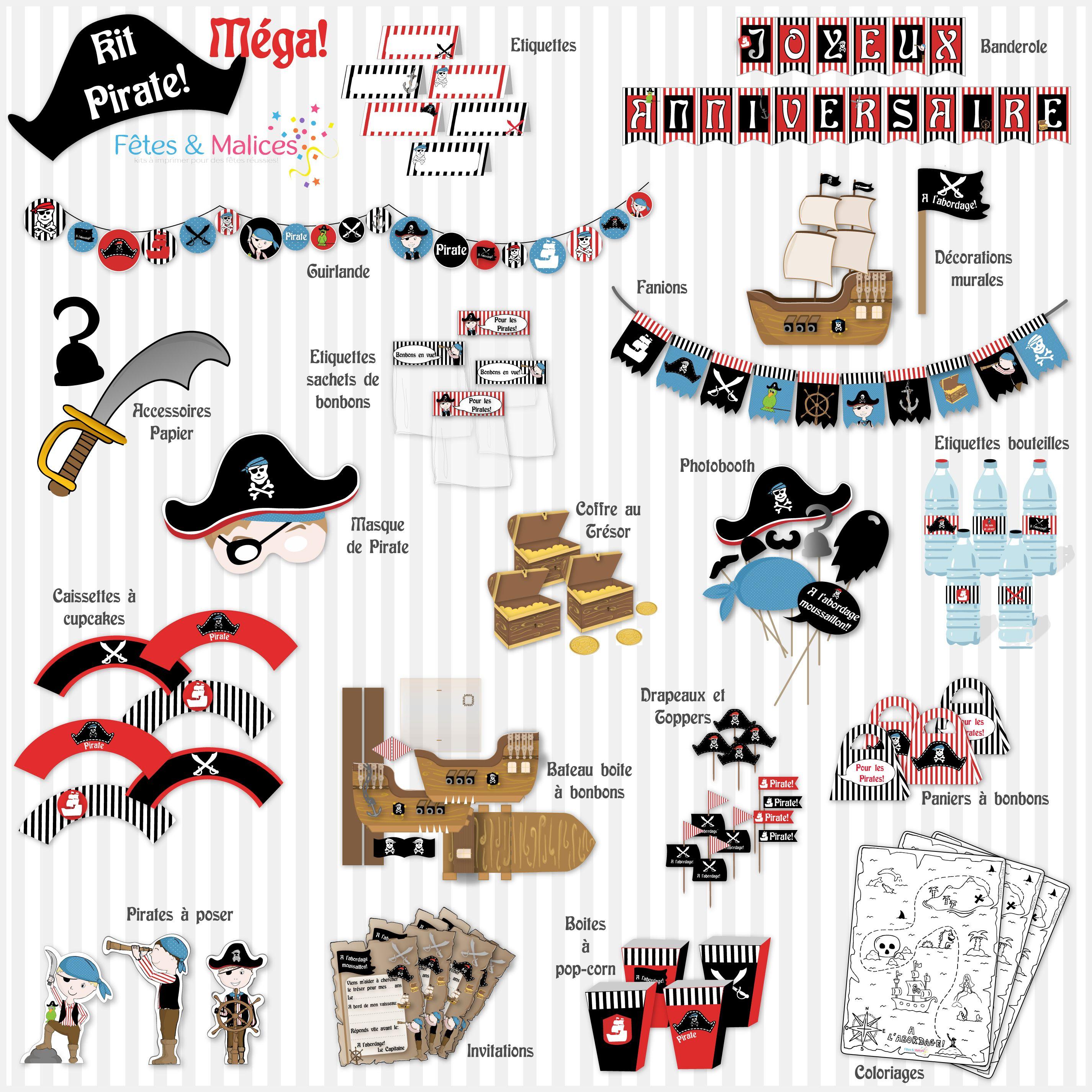 Favori Un anniversaire Pirate! (Idée déco, kit à imprimer) | Fêtes  UO35