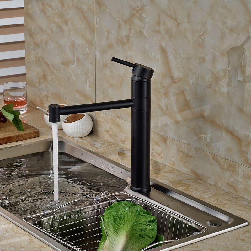 Deck Mount Long Neck Kitchen Faucet Single Handle One Hole Hot Cold