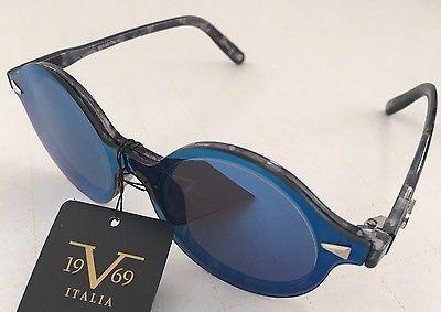 3cbe35d79c  49 New Versace v19.69 ITALIA Nicoletta Black Grey Blue Mirrored Aviator  Sunglasses