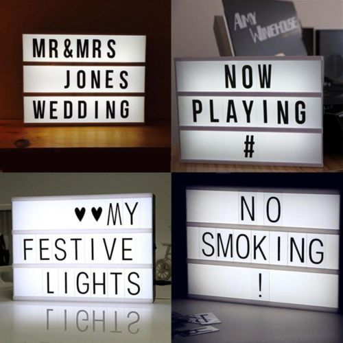 A4 LIGHT UP LETTER BOX CINEMATIC LED SIGN PARTY WEDDING WORDS PLAQUE SHOP CINEMA